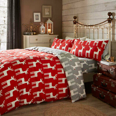 Fusion Christmas Reindeer Reversible 100% Brushed Cotton Duvet Cover Set, Red