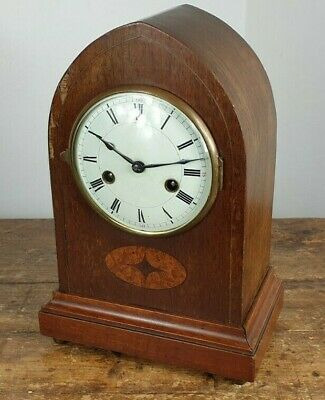 CLOCK MANTEL CHIMES EDWARDIAN 1920s WOODEN CASE MADE ENGLAND SERVICED WORKING
