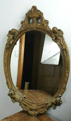 MIRROR 1950s BAROQUE STYLE CHERUBS GOLD PLASTER FRAME MADE IN ENGLAND