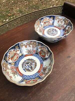 Fine Antique Pair Japanese Imari Meiji Porcelain Bowls