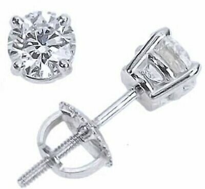 .40 ct. White Sapphire Screw Back Round Stud Earrings in 14k White Gold/Silver