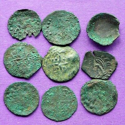 M1179 Lot of 9 late ByzantineBulgarian bronze coins 18-19mm 7.4g