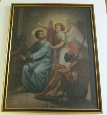 19Th To 20Th Century Antique Icon Painting Religious Iconic Soldiers Angel Old