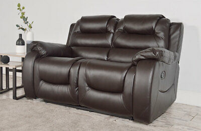 2 Seater Brown Leather Recliner Sofa