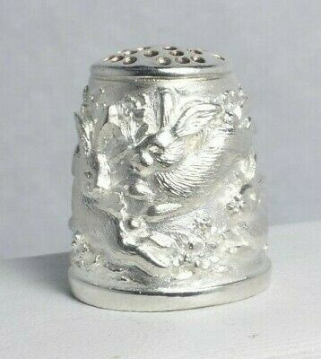 Sterling Silver Spring Rabbits & Flowers Thimble Size 5.5