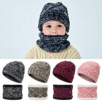 Kids Hats and Scarves Girls Boys Hat with Scarf Fleece Lining Warm Set Winter UK
