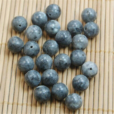 20Pcs DIY Natural Round Volcanic Rock Grey Smooth Spacer Loose Beads Charms 8MM