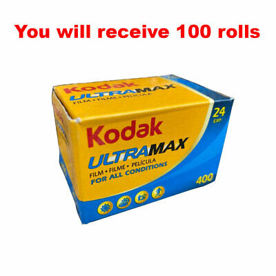 100 Rolls Kodak UltraMax 400 35mm Film GC24 135-24 Exp GOLD Color Print Expired