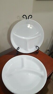 "Corelle White Divided Grill Plates 10 1/4"" Lot of 4    Made by Corning"