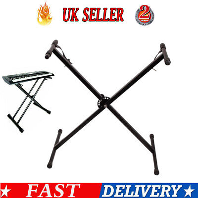 X Frame Piano Keyboard Stand Heavy Duty Folding Adjustable Height with Straps UK