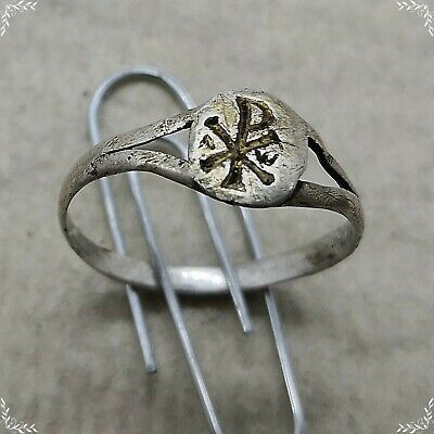 Chi-rho IV century ancient silver roman ring 1,01g