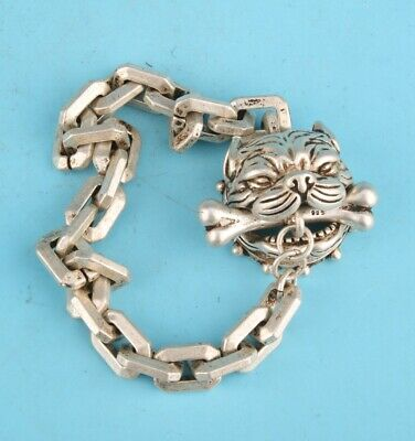 China Tibet Silver Hand Carved Dog Head Bracelet Good Luck Old Gift Collec