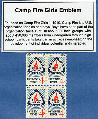 Vintage Campfire Girls 1960 BLOCK of FOUR 4 Cent POSTAGE STAMPS 50th Anniversary