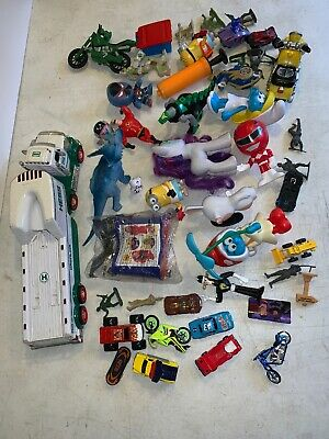 Junk Drawer Lot Of 45 Kids Toys Small Dinosourr Cars Horse Trailer Mix Toys