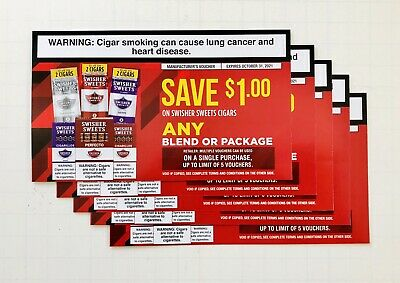 5 Valid Swisher Sweets Cigar Coupons Vouchers    $5 Value Can Redeem All At Once