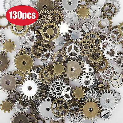 130PCS Antique Vintage Steampunk Metal Wheel Gear Cog Lot Craft DIY Charms Small