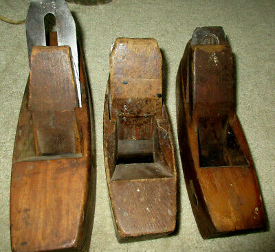 3 ANTIQUE Coffin Style WOOD Block PLANES MOULSON BROS SIEGLEY STS + NR