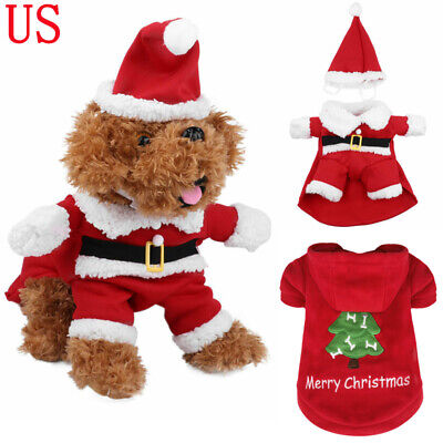 Pet Dog Christmas Santa Claus Hooded Coat Costume with Hat Outfits Apparel Gifts