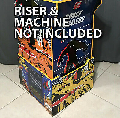Arcade1up Cabinet Riser Graphics - Space Invaders Graphic Sticker Decal Set