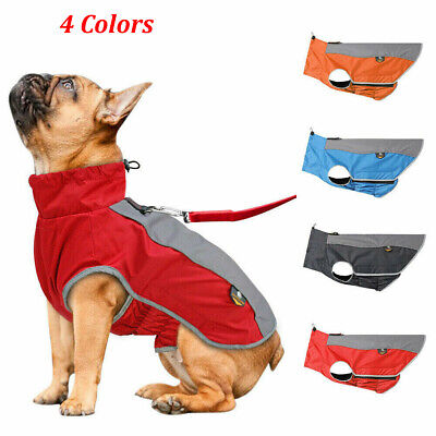 Waterproof Dog Winter Coat Pet Reflective Fleece Clothes Jacket French Bulldog