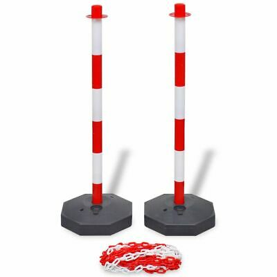 UK Red & White Safety Barrier Security Fence Post Base Set & 10m Plastic Chain