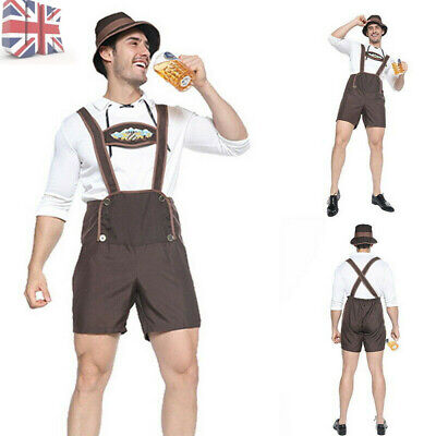 Mens Bavarian Oktoberfest Costume Beer German Lederhosen Fancy Dress Octoberfest