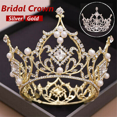 Luxury Large Full Circle Rhinestones Queen Princess Tiara Crown Bride