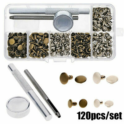 120 Set Leather Rivets Double Cap Rivets Kit Metal Fixing Tool for Leather Craft