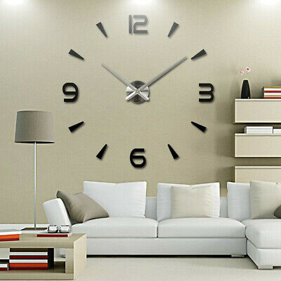 3D Large Wall Clock Frameless Mirror Number Sticker Modern Art Decal Decor UK