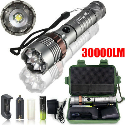 Tactical 350000LM 5Mode T6LED Police Flashlight Zoomable Torch+18650+Charge+Case