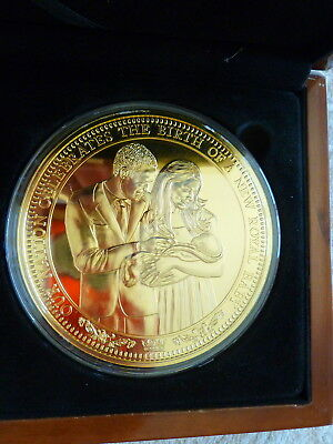 2013 24ct Gold Plated Royal Baby Prince George Commerative Medal with COA