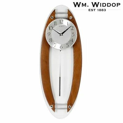 WM Widdop Pendulum Wall Clock with Arched Sides in Glass & Wood Finish 59cm