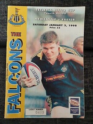 Vintage Rugby Union Programme Newcastle Falcons v Exeter 3 January 1998