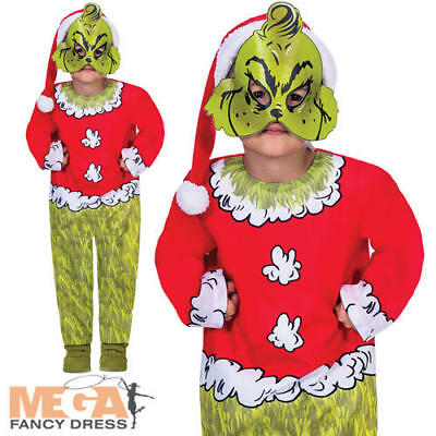The Grinch Boys Fancy Dress Dr Suess Christmas Film Kids Childrens Xmas Costume