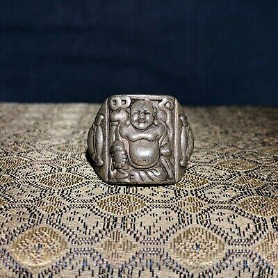 Old Collectible Tibet Silver Handwork Chinese Vintage Maitreya Buddha Ring C92