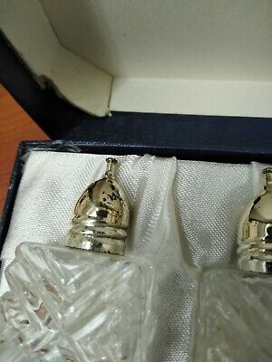 Vintage Cut Glass Silver Plated Salt and Pepper Shakers 1.5 in. Tall