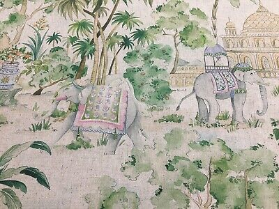 Elephants and Palms Linen  280cm  Wide Curtain/ upholstery Fabric