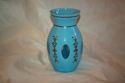 Czech Bohemian Blue Cased to Blue Glass Rare Vase LOT 4362