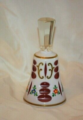 Czech Bohemian Cranberry Cased to White Glass BELL LOT 4364