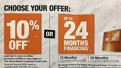 Home Depot 10% OFF Coupon Offer ONLINE/ IN STORE With HDCredit Card Exp 10/30/19