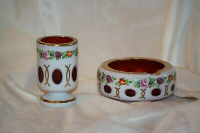 Czech Bohemian Red Cased to White Glass Ashtray & Match Holder LOT 4367