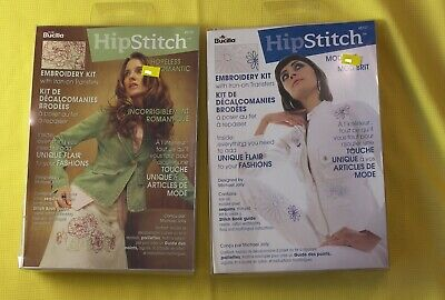 Lot of 2 HipStitch Embroidery Kit with iron-on Transfer City Girl and Hopeless Romantic