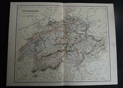 Antique Map: Switzerland & Passes of the Alps, Europe, c 1880, Colour