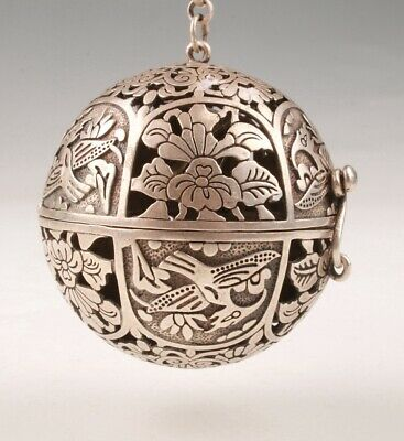 Unique Tibetan Silver Pendant Hand-Carved Bird Flower Home Decoration