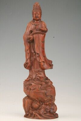 Unique Chinese Boxwood Hand-Carved Guanyin Statue Spiritual Gift Collection