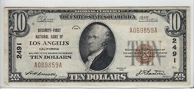 1929 Security-First National Bank of Los Angeles CA $10 Note CH#2491 A069859A