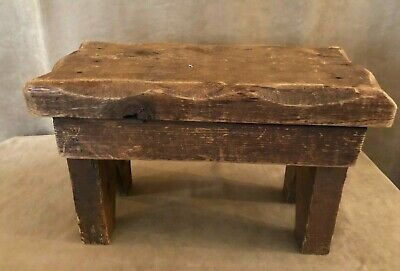 """Primitive Antique Stool Wooden 15 x 7 low 9"""" high cow milking step wood"""