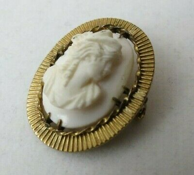 Antique Victorian Hand Carved Deep Relief Shell Cameo Pin Brooch Prong Set