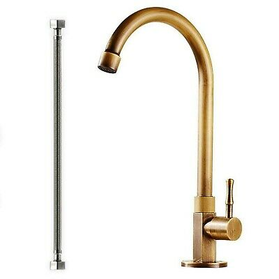 Single Handle Antique Brass Faucet, Brushed Gold Single Temperature Water Bar...