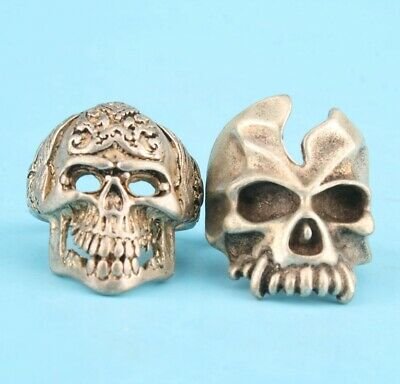 2 Unique China Tibetan Silver Hand-Carved Skull Ring Cool Collection Gift
